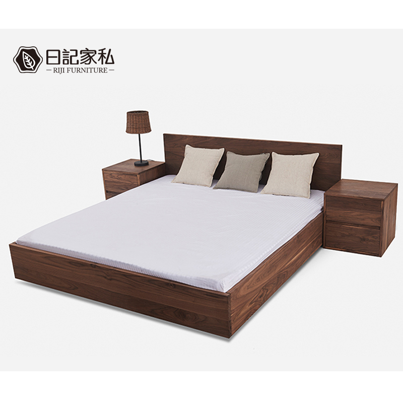 The whole Japanese oak wood bed bed black walnut bed with simple modern 1.8m master bedroom double bed