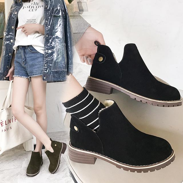2018秋冬新款短靴女软底马丁靴平跟磨砂短筒平底韩版百搭加绒女靴