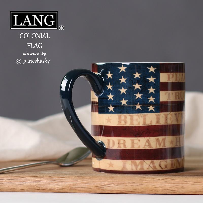 美國國旗杯 lang大容量陶瓷馬克杯奶茶杯咖啡杯 美式鄉村風 禮品