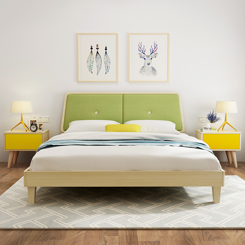 Nordic bed 1.8 small apartment, Japanese style modern simple 1.5 meters double bed, economical type furniture widening board with soft backing