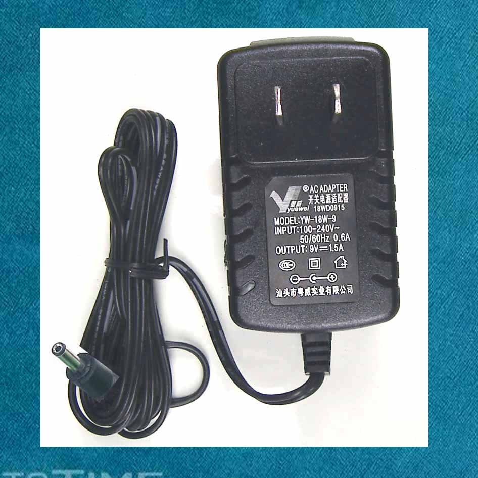 Guangdong Wei YW-18W-9 DC 9V-1.5A switching power adapter (inner diameter 1.3 outer diameter 3.5 plug)