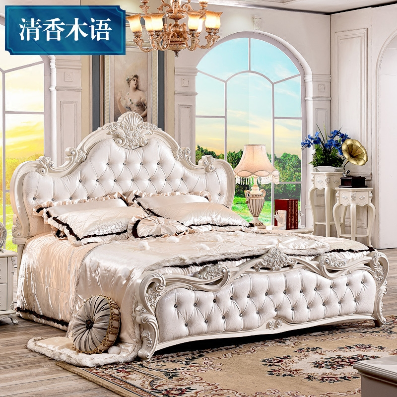 European style luxury double bed Zhuwo simple European style wedding bed 1.8 m French pastoral princess bed solid wood furniture