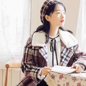 2017冬季新款格子大衣女毛呢外套復古文藝森系軟妹中長款加厚呢子
