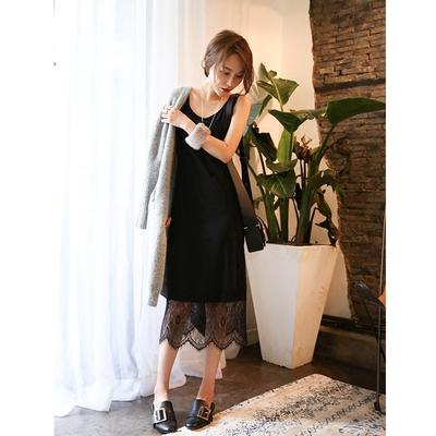 于momo定制 2016秋装新款长款蕾丝打底拼接裙摆无袖连衣裙Q6329