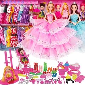 芭比娃娃套装屋女孩公主儿童玩具衣服裙子过家家洋娃娃布生日礼物