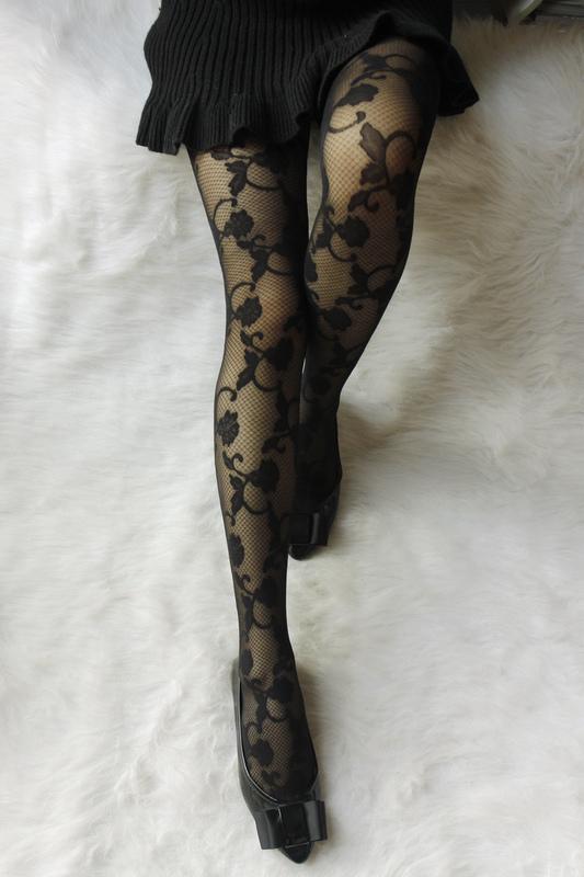 黑色均碼春夏新品 復古浮雕花 植絨玫瑰花朵蕾絲連褲襪 防勾立體花朵絲襪