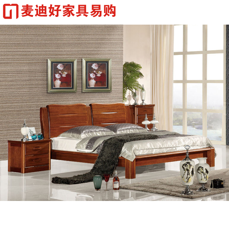 Begonia wood solid wood bed 1.8 meters double bed modern minimalist furniture solid wood bed HT206