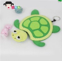 DIY puzzle handmade nonwoven materials package free cutting creative gift cute turtle longevity key bag