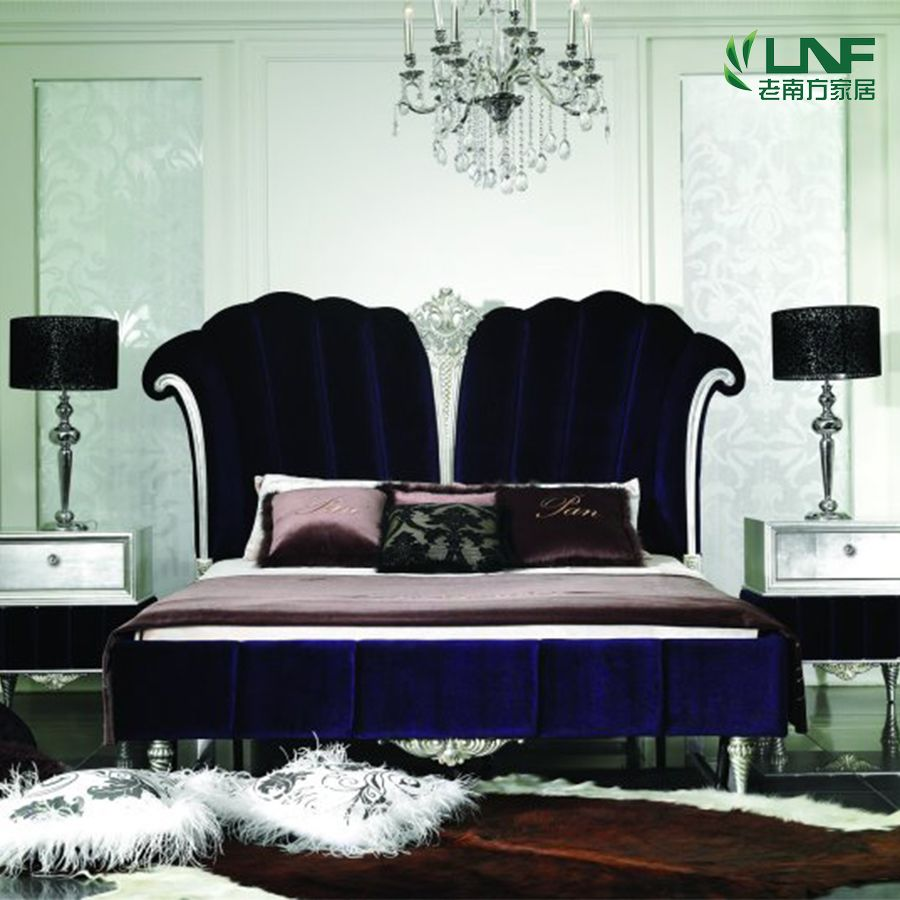 New classical, post-modern, solid wood double bed, European luxury gold silver foil, oak high box, princess bed, wedding bed new products