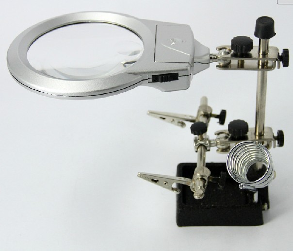 Desktop hand-held double use magnifier MG16129-A with light source auxiliary clamp welding table