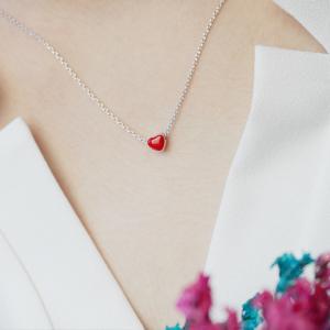 清新甜美可爱小红心爱心S925纯银项链女气质红色桃心短款锁骨链夏