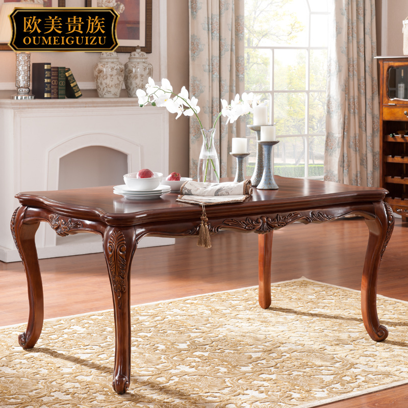 American country dining table, solid wood carving, round edge, family combination type restaurant, 1.6 meter rectangle eating table