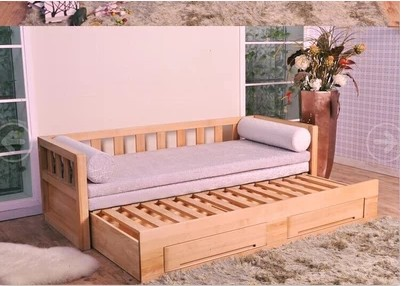 全木造ソファベッドツイ抽伸機シンプル現代全松抽保存両用ベッドカスタマイズ可能