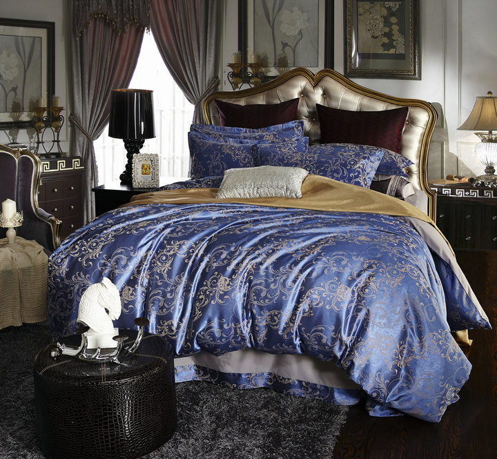 The new silk jacquard satin four piece bedding Tencel 4 piece suit European wedding clearance package post processing