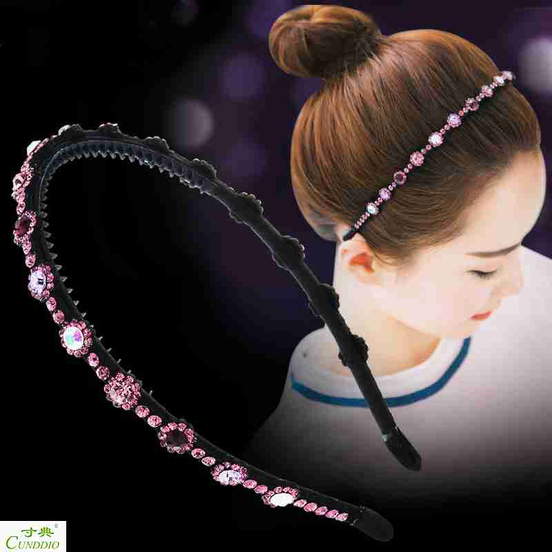 South Korea all-match simple water drill slip hoop hoop with tooth face hair clip headdress hairpin top clamp adult female
