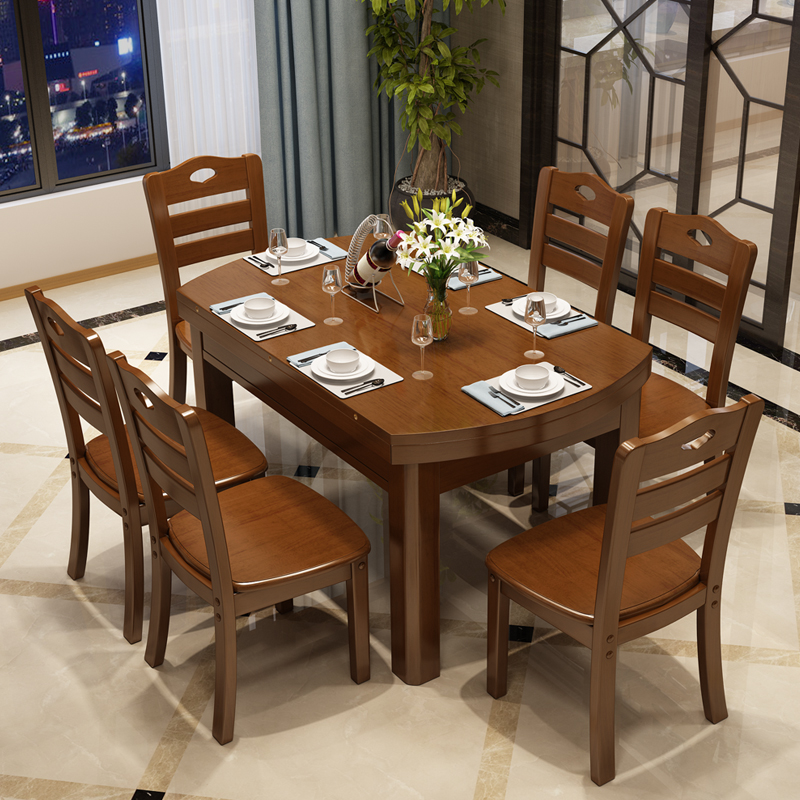 Solid wood table and chair combination, modern simple telescopic round table, circular multifunctional dining table, folding family small apartment