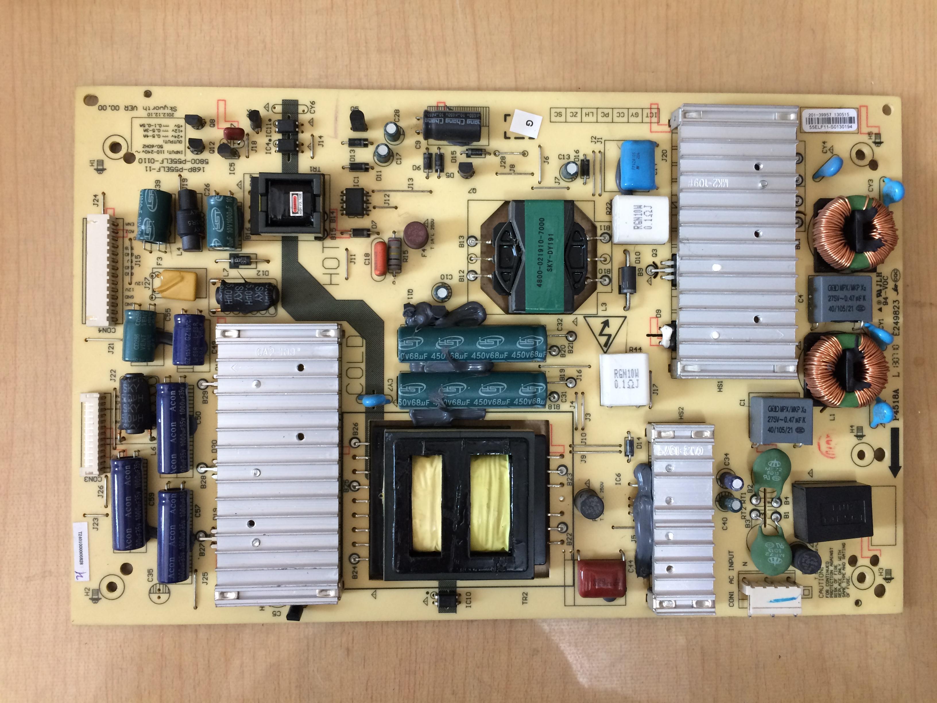 Skyworth LCD - TV 55E7BRE Power Board 168P-P55ELF-015800-P55ELF-0110 Lee