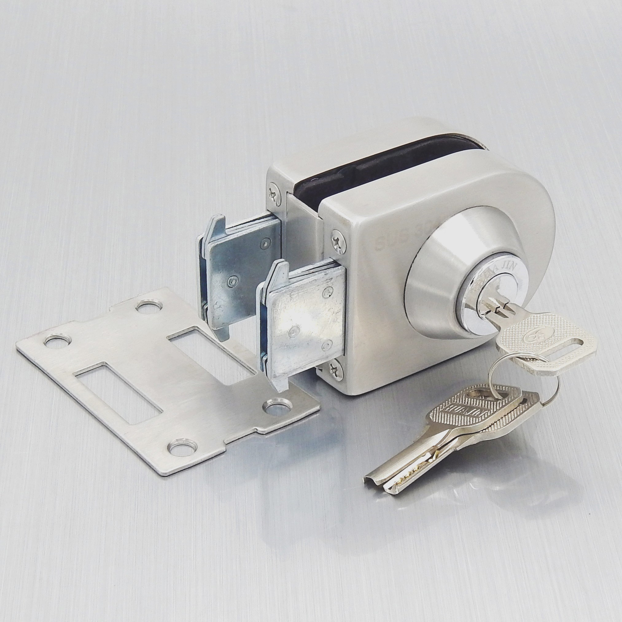 The central glass glass door lock free single double hole 304 stainless steel glass door lock double double lock