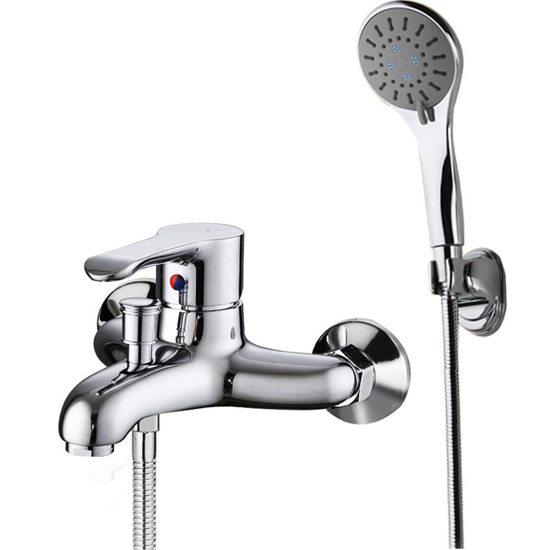Hot and cold bath faucet copper shower faucet set simple triple bathroom accessories shower nozzle water mixing valve