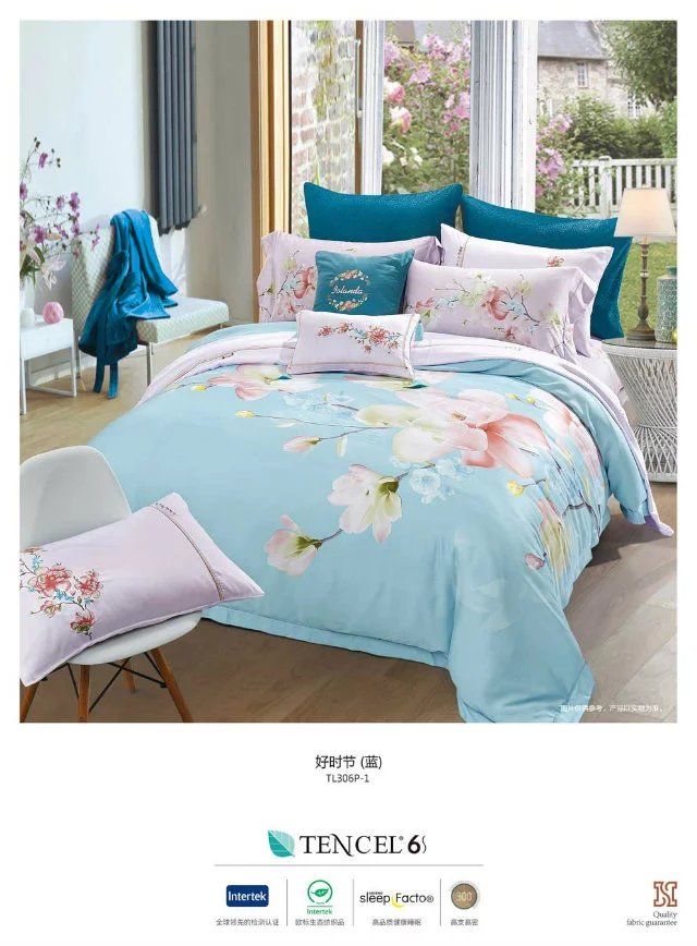 The new spring and summer European wedding bedding 60 very cool double-sided pure Tencel four piece set good season blue