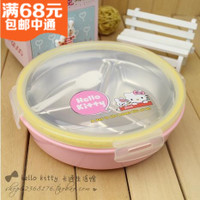 Hello kittyKT cat cute round stainless steel boxes box divided plate boxes boxes divided