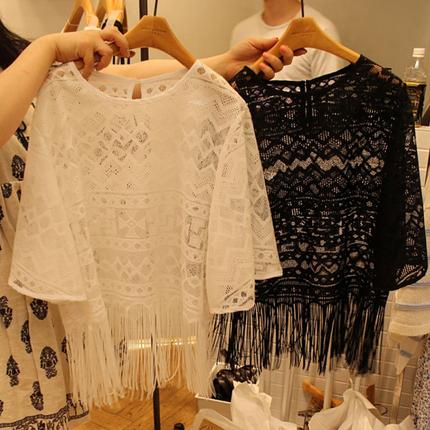 夏季新款韩版大码流苏蕾丝衫圆领罩衫透明镂空短袖t恤女 宽松上衣