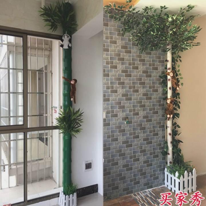 Tubo agua de tuberías de calefacción de oclusión de las columnas en la corteza de las plantas falsa decora la Sala de paquetes de simulación de bambú.