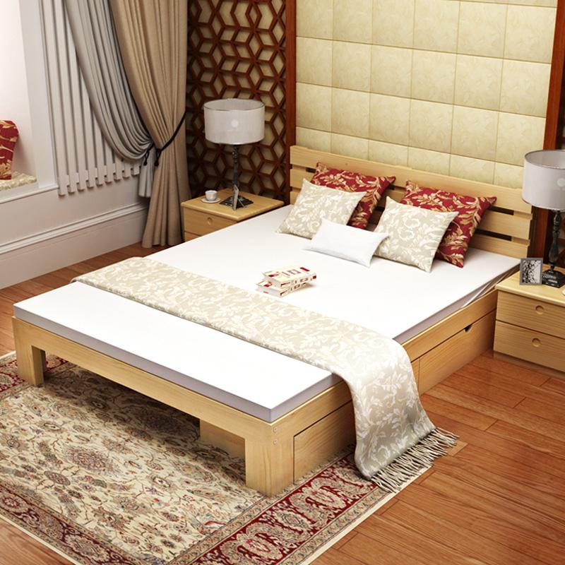 новый китайский все деревянные кровати 1,8 метров современный минималистский спальня 2 метров 2.2 1,5 большой хранения новый Кровать двуспальная кровать