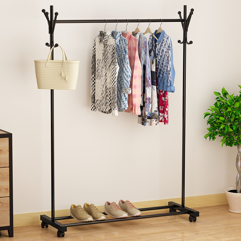 Clothes hanger cold clothes rod floor type indoor mobile ground clothes hanger installation single bar bedroom clothes cap folding type