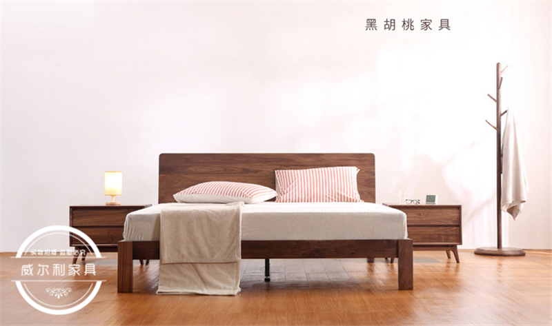 White oak all solid wood bed, Nordic black walnut wood, Japanese solid wood double bed bedroom furniture