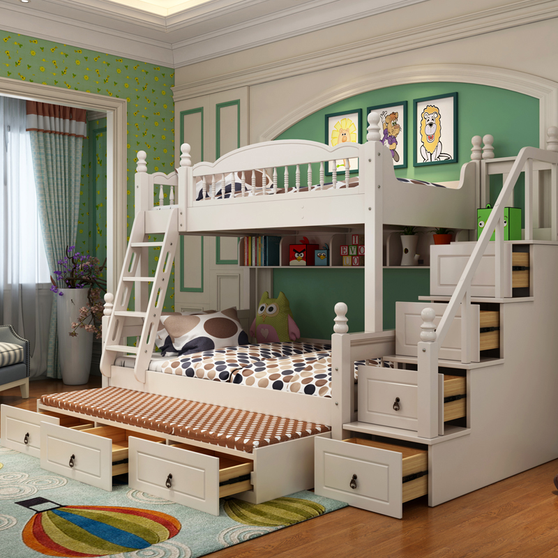 All wood crib bed double bed multifunctional combined bed under the level of adult Tuochuang mother bed shop