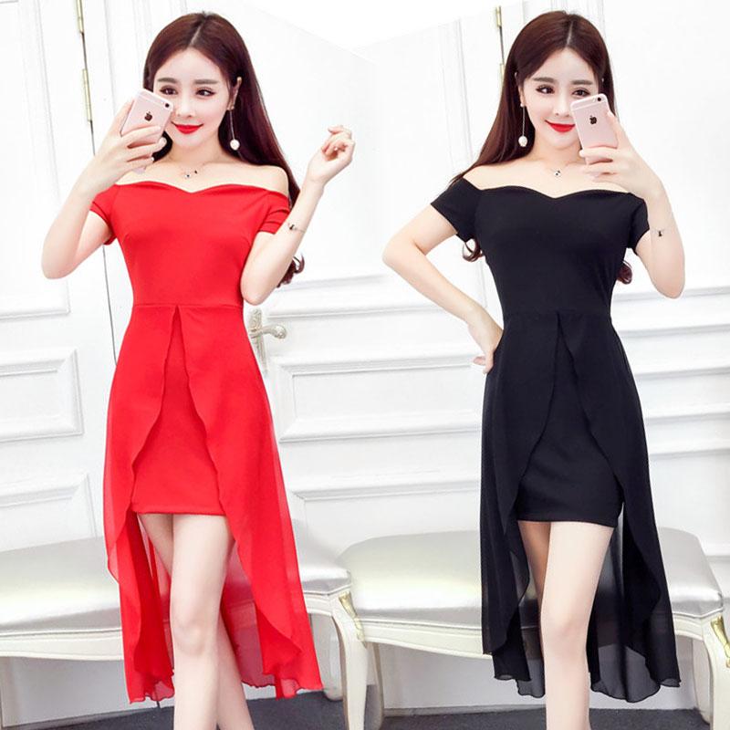 2017春夏季新款 时尚韩版露肩一字领雪纺拼接 短袖不规则连衣裙潮