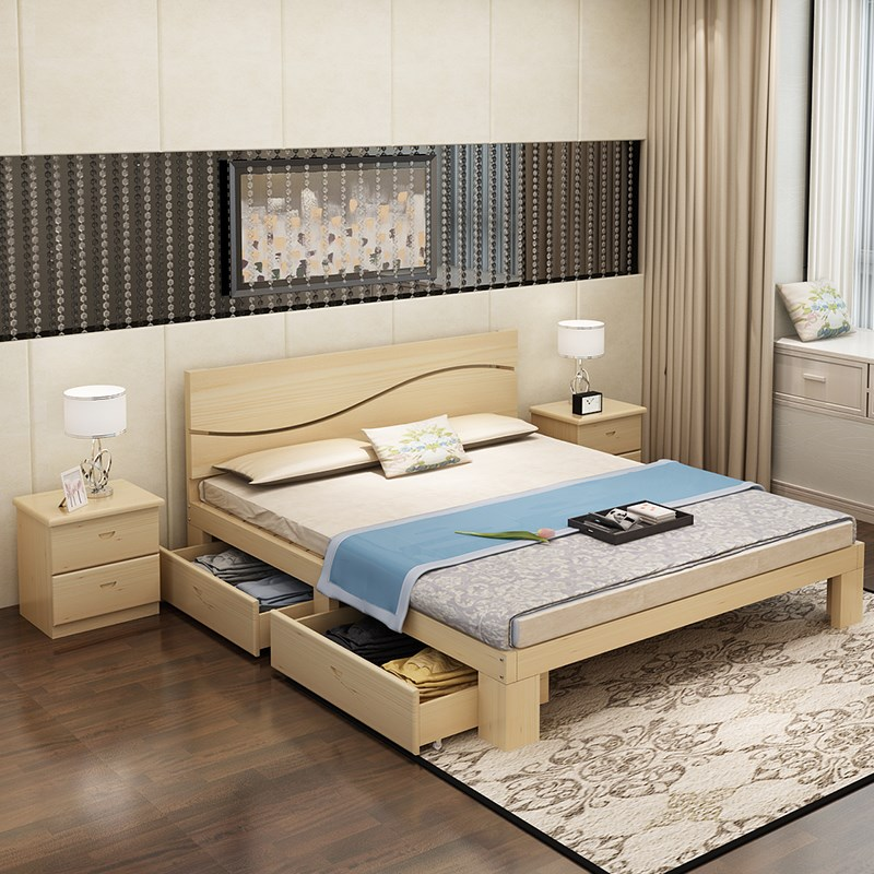 Modern simple economy type solid wood double bed assembly 1.8 meters 1.5 children's single bed pine wood storage can be customized