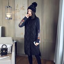 2016冬新款韩版开叉无袖PU皮马夹加厚菱形格棉衣外套马甲女中长款