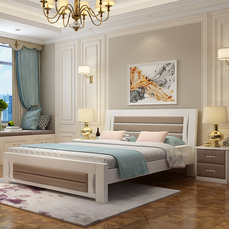 Master wood bed rest times European Home Furnishing Nordic adult double bedroom bed Jane lovely princess