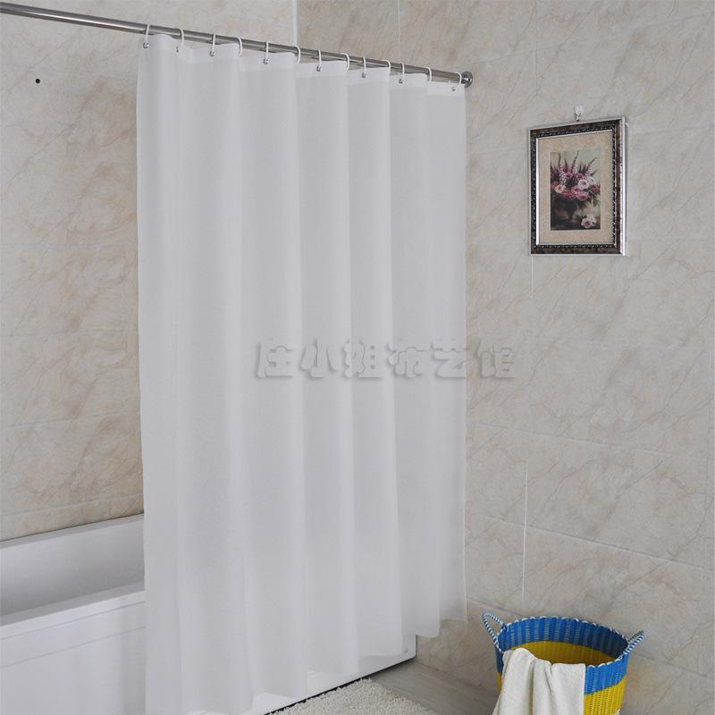 흰색 폴리에스테르 목욕 천 방수 보력 불투명 화장실 샤워 커튼 폴 샤워 커튼 세트 면제 펀치 신축 바