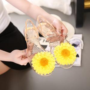 春夏水晶果冻鞋 花朵蝴蝶结 拼色胶鞋女鞋 露趾凉鞋旅游鞋A903