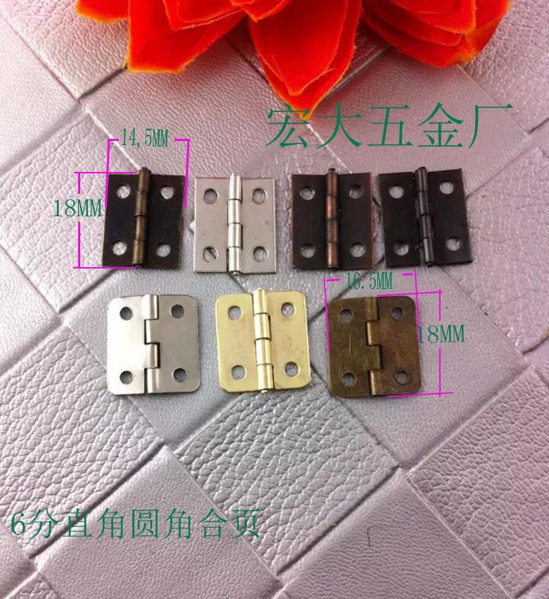 Caja de embalaje de madera bisagras pequeñas bisagras bisagras bisagras accesorios de metal plana rectangular de 18 6 puntos * 14 pequeñas bisagras de níquel