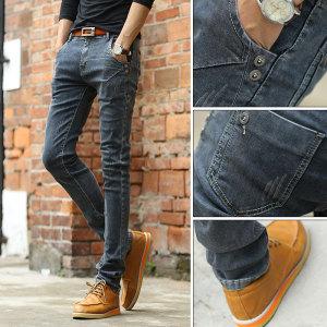 一件代发高品质男装灰色青春流行修身弹力小脚牛仔裤男韩版潮男裤