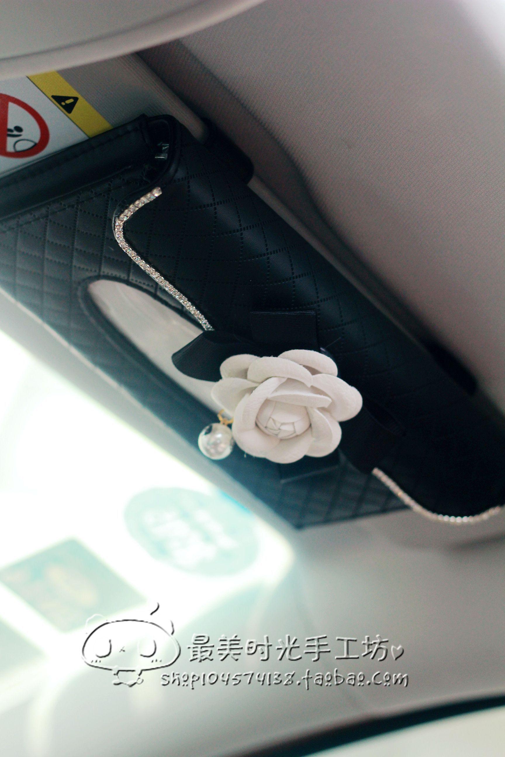 Camellia tissue box car visor high-grade leather car box jacket hanging vehicle interior female diamond