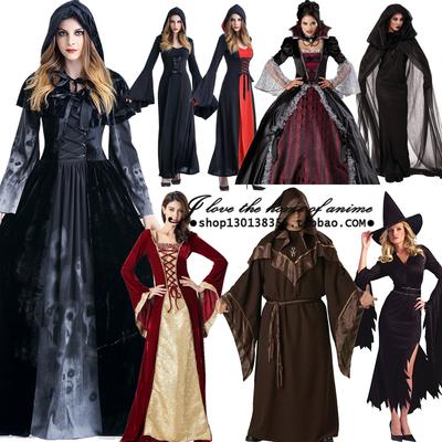 万圣节吸血鬼服装成人 化妆舞会死神披风黑斗篷cosplay女巫婆长裙