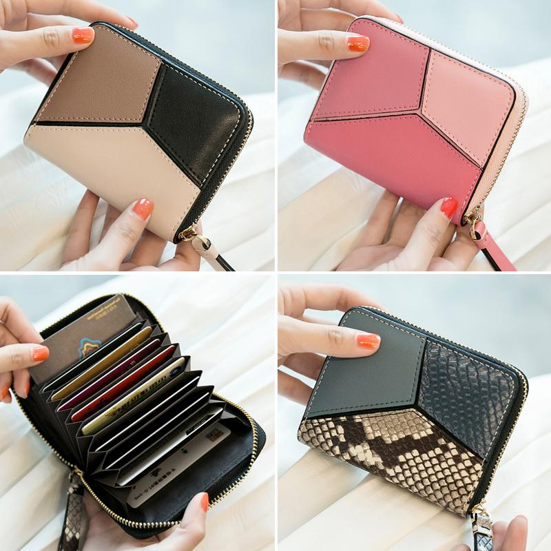 2017 New Europe and the big real pickup female card clip package name card bank card bag man purse organ