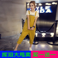 Spring and autumn fat sister, big yards belt pants, women fat MM200 Jin, Korean version of Siamese nine points pants, students loose obvious thin tide