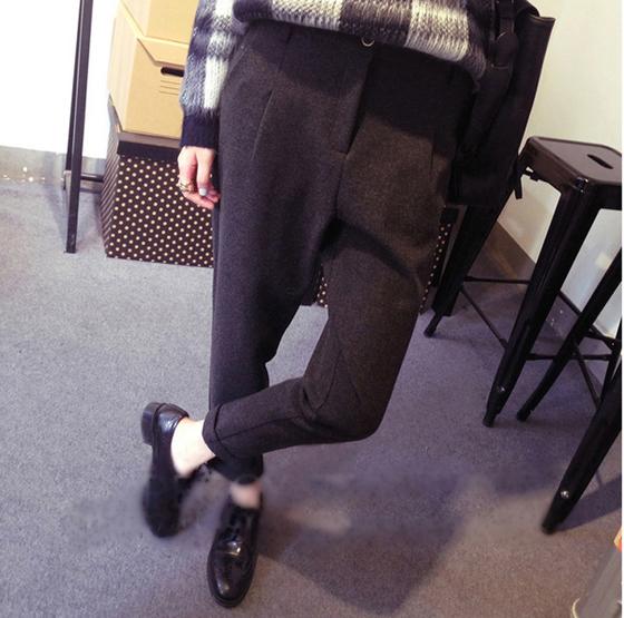 韩国原版简约加厚纯色毛呢小脚休闲裤 显瘦垂感工装哈伦裤长裤 女