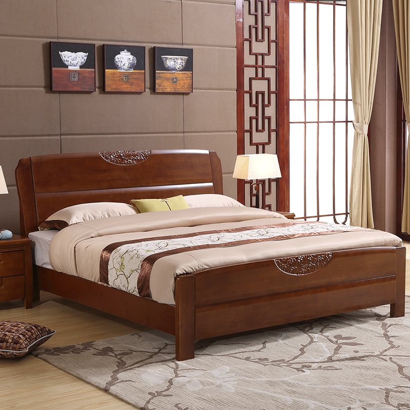 All solid wood bed double bed 1.8 meters, new Chinese style simple, modern economic type marriage bed 1.5 storage high box bed master bedroom
