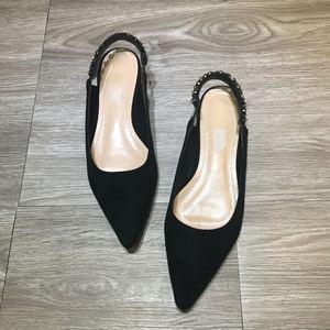 2017春夏新款尖头低帮水钻平底单鞋 凉鞋小高跟细跟包头女鞋
