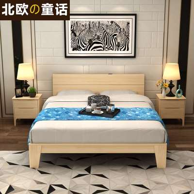 Japanese style solid wood bed, large /1.8 meter double bed, simple modern bedroom furniture, 1.5 bed children's bed
