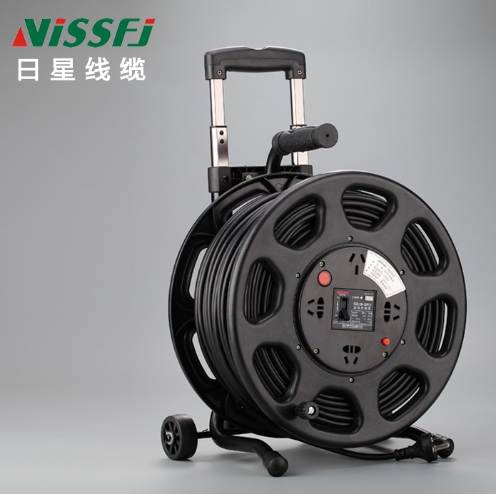 100 meters of cable tray empty 220V mobile drag line reel coiled wire disc take-up reel core 2 line roller