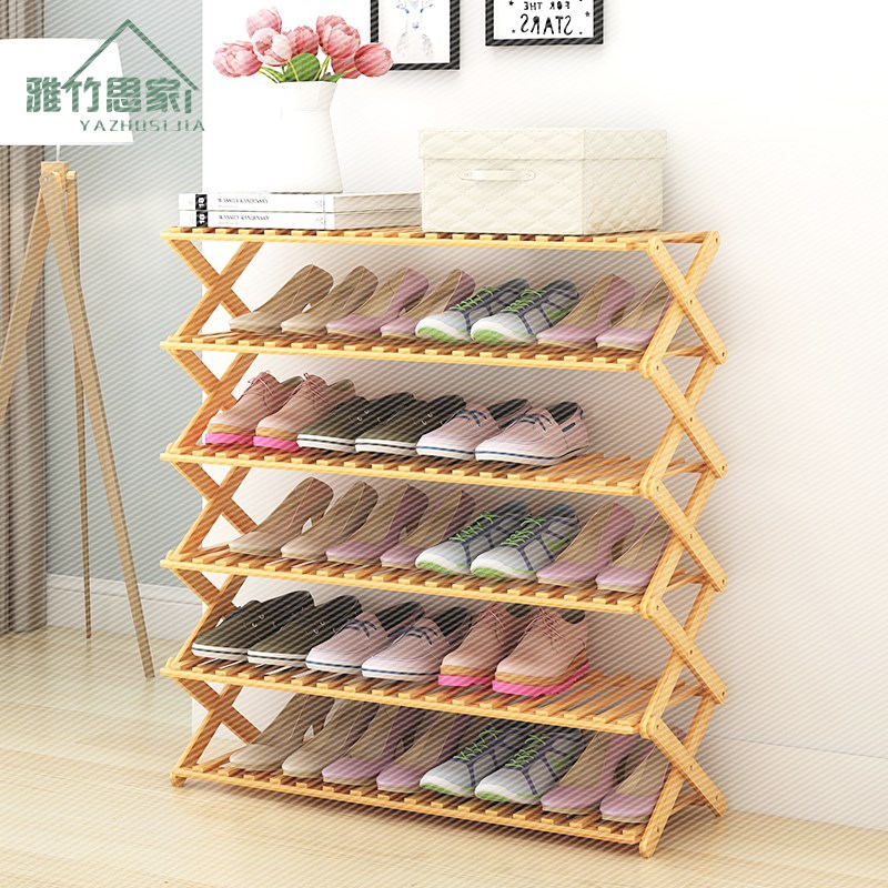 Free installation simple folding shoe multilayer simple modern household dust special offer economical wood shoe rack