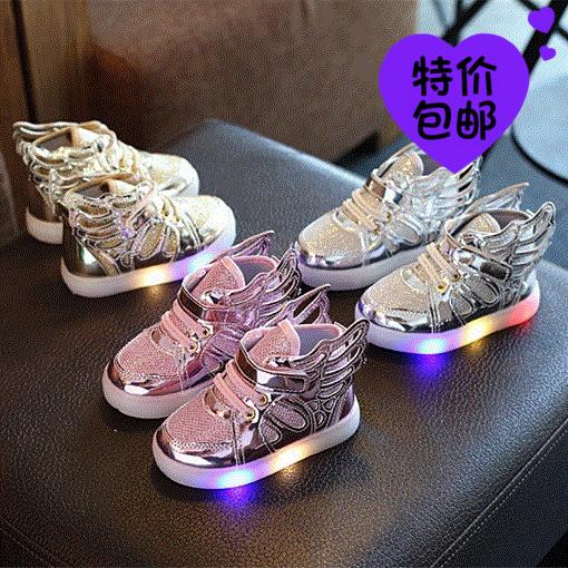 2017春秋时尚新款KT猫公主鞋小童中童鞋子女童带灯闪灯发光单鞋